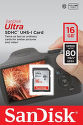 SANDISK 139766 ULTRA SDHC 16GB 80 MB/s Class 10 UHS-I