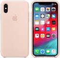 Apple silikonový kryt pro iPhone XS, pískově růžový