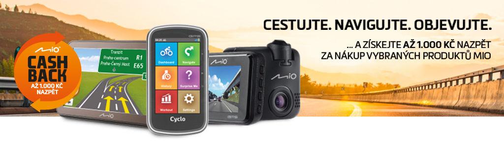Cashback až 1 000 Kč na navigace a kamerky Mio