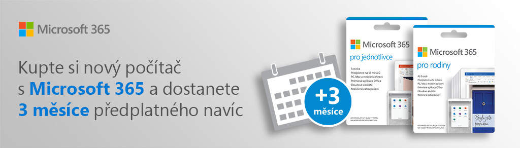 +3 měsíce navíc k roční licenci na Microsoft 365