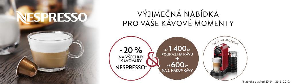 Sleva 20 % na kávovary Nespresso