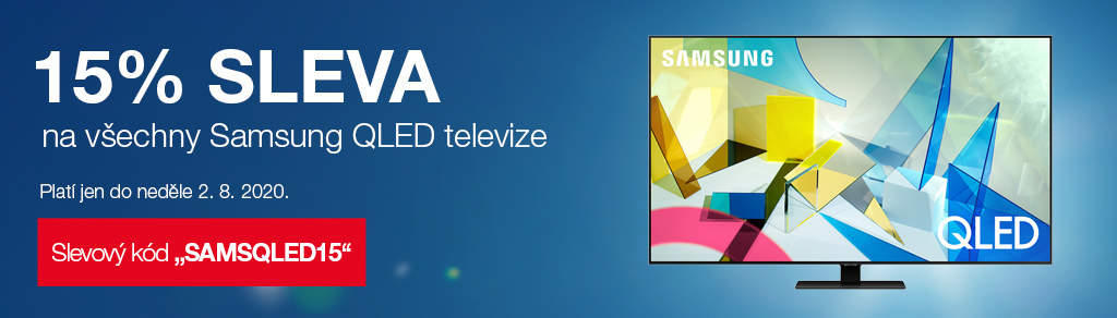 """15% sleva na všechny QLED Samsung po zadání kódu """"SAMSQLED15"""""""