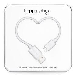 Happy Plugs microUSB kabel 2m, bílá