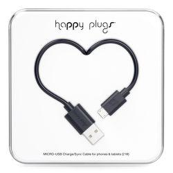 Happy Plugs microUSB kabel 2m, černá