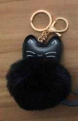 PomPom klíčenka kočka černá
