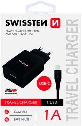 Swissten 1x USB adaptér 1A + kabel USB/USB-C 1,2 m, černá