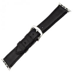 Fixed  Berkeley řemínek pro Apple Watch 44 mm a 42 mm, černý se stříbrnou přezkou