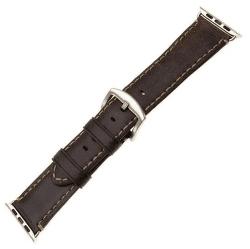 FIXED Berkeley řemínek pro Apple Watch 44 mm a 42 mm, uhlově hnědý se stříbrnou přezkou
