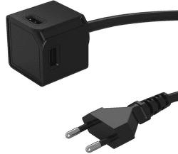 PowerCube Extended rozbočovač 4x USB + 1,5m kabel, černá