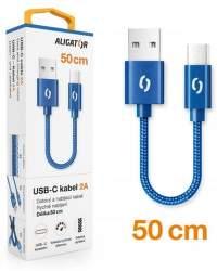 Aligator Premium datový kabel USB-C 0,5 m 2 A modrý