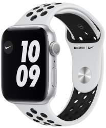 Apple Watch Nike Series 6 44 mm stříbrný hliník s černým sportovním řemínkem