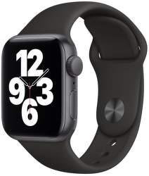 Apple Watch SE 40 mm vesmírné šedý hliník s černým sportovním řemínkem