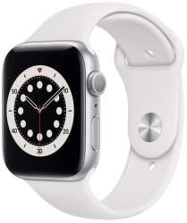 Apple Watch Series 6 44 mm stříbrný hliník s bílým sportovním řemínkem