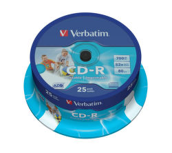 VERBATIM 25 / cake CD-R DLP 80min. 52x Printable VE