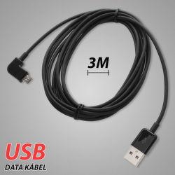 MobilNet Micro USB 3m (zahnutý) - datový kabel (černý)