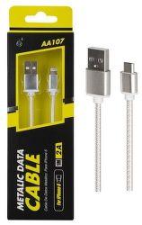Aligator PLUS AA107 Lightning-USB kabel 1m stříbrný
