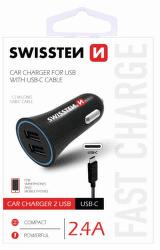 Swissten CL adaptér 2,4A 2 x USB - USB-C 1,5m černý
