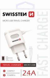 Swissten 2,4A microUSB nabíječka, bílá
