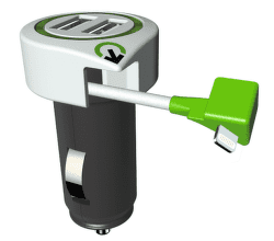 Q2 Power Tripple autonabíječka USB 2xUSB + Lightning kabel, bílá