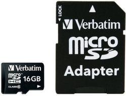 Verbatim microSDHC 16 GB Class 10 UHS-I + SD adaptér