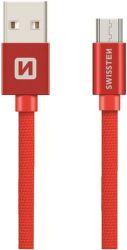 Swissten Textile datový kabel Micro USB 0,2 m červený