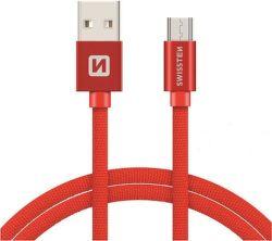 Swissten datový kabel Micro USB 2,0 m červený