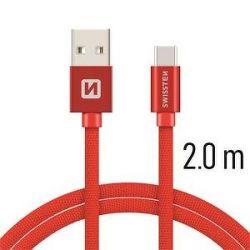 Swissten datový kabel USB-C 2,0 m červený