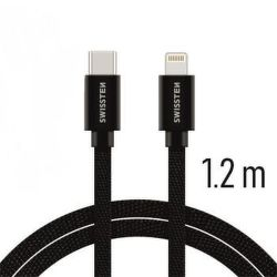 Swissten datový kabel USB-C/Lightning 1,2 m černý