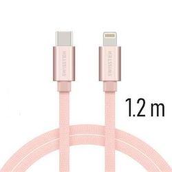 Swissten datový kabel USB-C/Lightning 1,2 m růžovo-zlatý