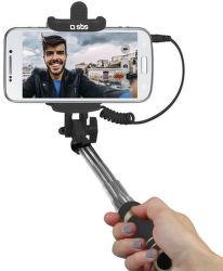SBS Mini Selfie tyčka, jack 3.5mm (černá)