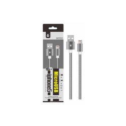 Aligator datový kabel 2v1 Micro USB/Lightning 1m 2,1 A stříbrný