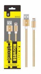 Aligator datový kabel Micro USB/Lightning 1 m 2,1 A zlatý