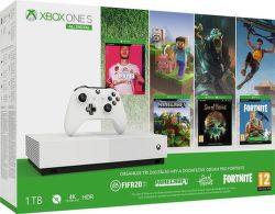 Microsoft Xbox One S 1TB All-Digital Edition + Minecraft + Sea of Thieves + Fortnite + FIFA 20