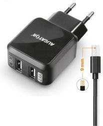 Aligator Turbo Charge 2x USB nabíječka, černá + microUSB kabel 1m