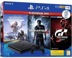 Sony PlayStation 4 Slim 1TB + Gran Turismo Sport + Uncharted 4 + Horizon Zero Dawn