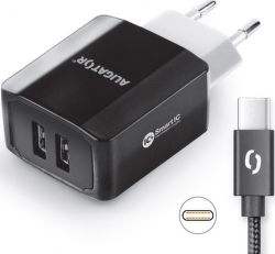 Aligator Smart IC 2× USB síťová nabíječka + kabel USB-C, černá