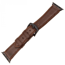 Fixed Berkeley řemínek pro Apple Watch 44 mm a 42 mm, hnědý s černou přezkou