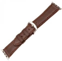 Fixed Berkeley řemínek pro Apple Watch 44 mm a 42 mm, hnědý se stříbrnou přezkou