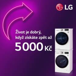 Cashback až 5 000 Kč na velké spotřebiče LG