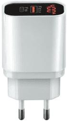 Forever Core nabíječka s digitálním displejem 1x USB QC 3.0/1x USB-C PD 20W bílá