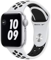 Apple Watch Nike SE 40 mm stříbrný hliník s platinovo černým sportovním řemínkem Nike