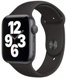 Apple Watch SE 44 mm vesmírné šedý hliník s černým sportovním řemínkem