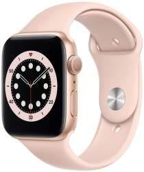 Apple Watch Series 6 44 mm zlatý hliník s pískově růžovým sportovním řemínkem
