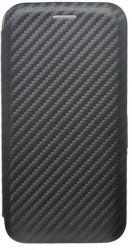 Mobilnet Carbon knížkové pouzdro pro iPhone X, černá