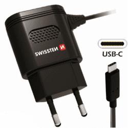 Swissten 2,4A USB-C nabíječka, černá