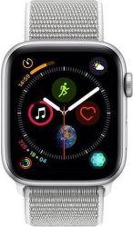 Apple Watch Series 4 44mm stříbrný hliník/mušlově bílý sportovní provlékací řemínek