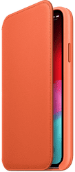 Apple kožené pouzdro Folio pro Apple iPhone Xs, oranžové