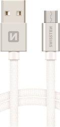Swissten datový kabel Micro USB 1,2 m stříbrný