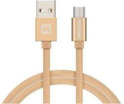 Swissten Textile datový kabel Micro USB 2,0 m zlatý