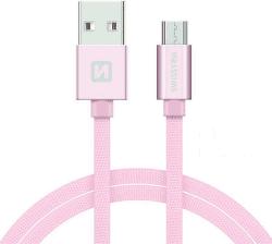 Swissten Textile datový kabel Micro USB 2,0 m růžovo-zlatý